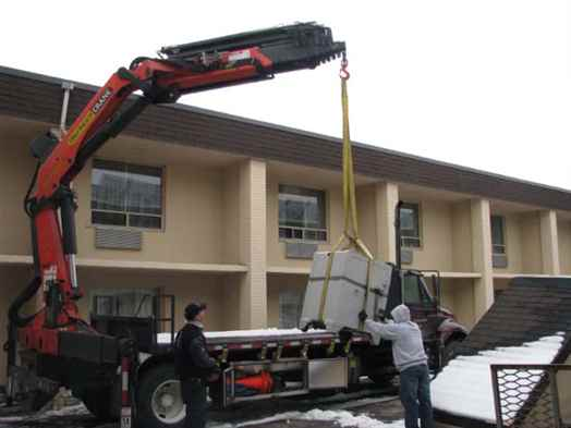 Safe craning onto truck.