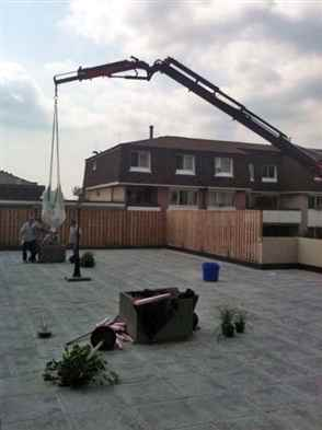 Crane ground into plant boxes.