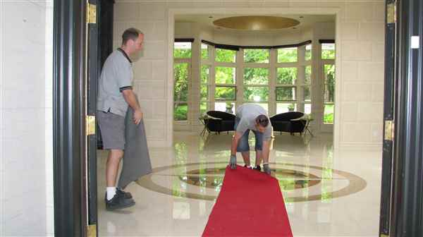 Laying out the red carpet on this piano move.
