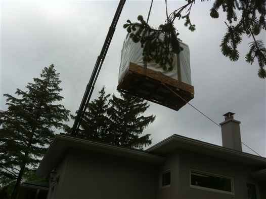 Crane Hot Tub over house