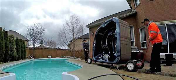 Moving a hot tub.