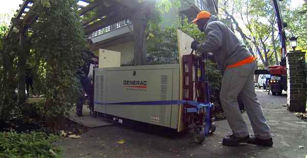 Moving a backup generator.