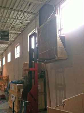 Test lift in the warehouse.